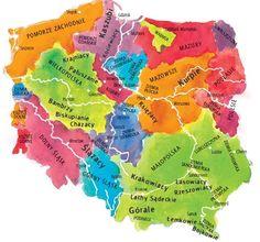 Mapa etnograficzna Poland Map, Poland Travel, Krakow Poland, Educational Activities, Math Activities, Learn Polish, Polish Language, Polish Folk Art, Old World Maps