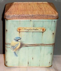 Antiques Decorative Tins | Marjolein Bastin Decorative Birdhouse Tin Can - 1995 Completed