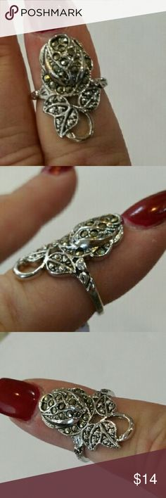 14k electroplated Ring with Genuine Marcasite. Sz6 So pretty and Sparkly. Perfect for the Rose in your life or the one who loves roses!  Please see from the tag that this ring is still brand new and never worn. Sz 6. Jewelry Rings