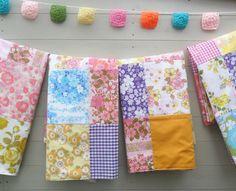 Vintage Sheet Patchwork Blanket  Throw in Pinks  by littleteawagon