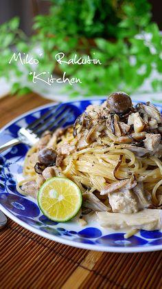 ランチに♪きのこの塩昆布クリームパスタ by putimiko 【クックパッド】 簡単おいしいみんなのレシピが316万品 Easy Cooking, Cooking Recipes, Yummy Food, Tasty, Healthy Food, How To Cook Pasta, Keto, No Cook Meals, Asian Recipes