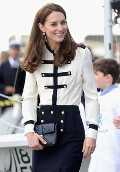 The gold anchor buttons on Kate's blouse and skirt were the perfect touch to her nautical ...