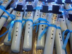 Fun and easy class snack:  Adorable Snowmen cheese sticks