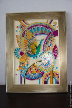 """Купить Панно """"Птица счастья"""" - разноцветный, счастье, птица счастья, птица, фантазийный сюжет, фантазия"""