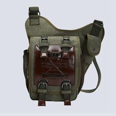 Retro Leather & Canvas Military Style Messenger Bag