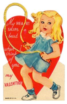 My heard SKIPS a beat when I think you you, my Valentine • Vintage girl & jump rope pun Valentine card