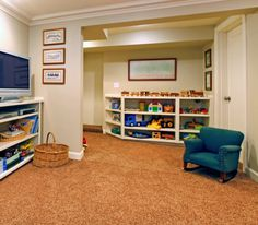 This looks like a really fun game room for kids. I love the look of the carpet, the color is nice and it looks really soft. I wouldn't even mind playing in there!