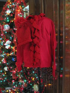 Bright Christmas Red Hand Crocheted and Knitted Scarf and Hat Set. $20.00, via Etsy.