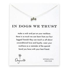 in dogs we trust dog bone necklace, sterling silver - Dogeared