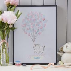 Fingerprints Elephant Baby with Balloons Fingerprints (canvas) with baby elephant and colorful balloons for your Babyshower, Baby Shower, Christening or 1 Birthday. The guests leave their fingerprint Baby Shower Party Supplies, Baby Shower Parties, Baby Shower Gifts, Elephant Decoration, Baby Elefant, Its A Boy Balloons, Baby Letters, Fingerprint Tree, Shower Bebe