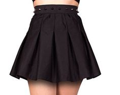 Black Skater Skirt. Women's High Waisted, Spiked Skirt. Gothic Clothing Dresses. Unique style for a Glam Rock, Punk, Pastel Goth Outfit