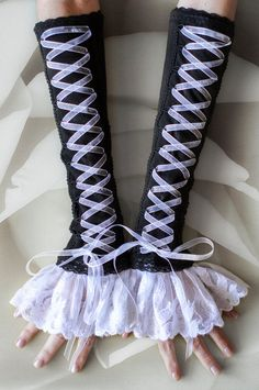 Arm warmers Corset Style Black Gothic by AccessoriumShop on Etsy, $28.00 could use these for Victorian cosplay?