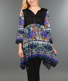 Loving this Black & Purple Floral Tunic - Plus on #zulily! #zulilyfinds