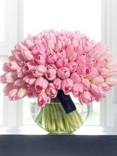 This beautifully feminine gift features an abundance of premium tulips in glorious pink. With such a generous number of tulips to enjoy, the wave of rich pink colour is even more pronounced, making this a stunning display of classic fresh flowers. Beautiful Flower Arrangements, My Flower, Flower Vases, Fresh Flowers, Spring Flowers, Floral Arrangements, Beautiful Flowers, Cut Flowers, Deco Floral