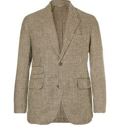 MAN 1924 - Kennedy Slim-Fit Unstructured Prince of Wales Checked Linen Blazer