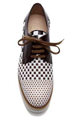 Woven Lace-Up Leather Loafers by Pertini - Moda Operandi