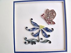 quilled and matted wall art ready to frame by sayitwithblooms