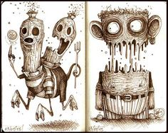 Series of quick concepts made with  Sepia Pens  on sketchbook 16x10 cm
