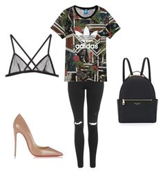 """Casual night to the gym"" by melody-farahani on Polyvore featuring Christian Louboutin, Topshop, Henri Bendel, adidas and Fleur du Mal"
