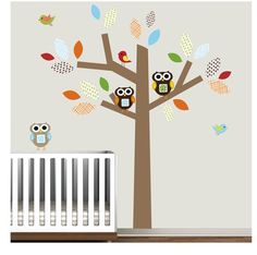 Nursery decal w/owls.