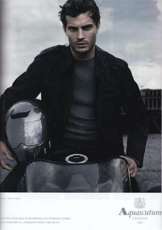 Jamie Dornan (Sheriff Graham/the Huntsmen from Once Upon A Time).  Ya got any room left on that bike, stud?