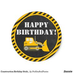 Shop Construction Birthday Stickers created by PicklesAndPosies. Construction Party Supplies, Construction Invitations, Construction Signs, Construction Birthday Parties, Minions Birthday Theme, 2nd Birthday Party For Boys, Birthday Party Themes, Happy Birthday, Custom Stickers