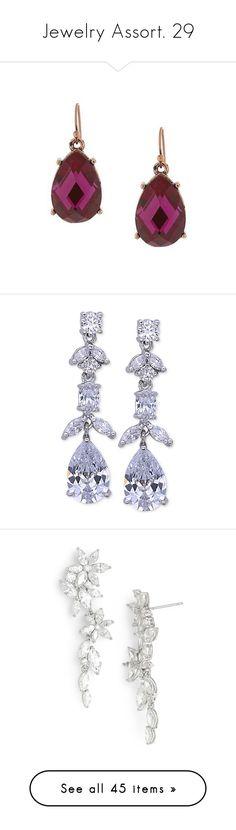 """Jewelry Assort. 29"" by katiemarilexa ❤ liked on Polyvore featuring jewelry, earrings, fuchsia earrings, fuschia earrings, facet jewelry, 1928 earrings, fuschia jewelry, silver, crystal jewelry and crystal jewellery"