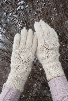 Knit gloves white gloves romantic gloves lace gloves by UNDIIN