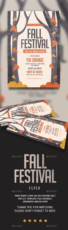 Fall Festival Flyer  — PSD Template • Only available here ➝…
