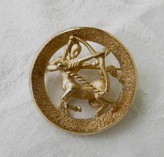 Crown Trifari Sagittarius Brooch Vintage Centaur Pin