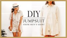 DIY Jumpsuit from Men' shirt/ Refashion Men's shirt into Jumpsuit – Diy Clothes Diy Jumpsuit, Diy Kleidung Upcycling, Umgestaltete Shirts, Band Shirts, Diy Fashion, Fashion Outfits, Diy Outfits, Fashion Clothes, Diy Vetement