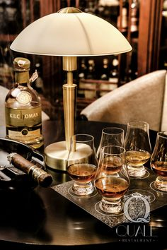 Tasting whisky-set with cigar. Whisky & Cigar Lounge at Quale Restaurant in Lodz, Poland