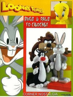 Price is for the pattern only, not the finished product.  Bugs Bunny 19 tall. Tweety 10 tall. Sylvester 14 tall. Taz 12.5 tall.  There is no shipping charge for this item, as it is a PDF file and will be sent almost direct of payment. If you dont receive it within 24 hours, please, contact me.  All patterns are written in standard American terms.  You can always contact me if you have any problems with the pattern. This is from my own collection of Vintage Patterns, is enhanced and altered…