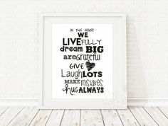 Family Rules / Home Art Print Home Quote by ThePartyKitShop