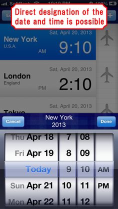 """""""World Clock"""" is an application that displays a list of the times in several cities around the world.  If you change the time in one city, the times in the other cities are changed automatically as well. #iPhone #App"""