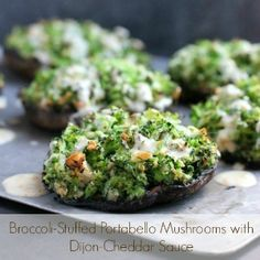 Broccoli Stuffed Portabello Mushrooms