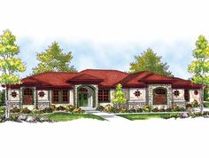 Eplans Mediterranean House Plan - Mediterranean with Great Windowed Facade - 2839 Square Feet and 3 Bedrooms(s) from Eplans - House Plan Code HWEPL13686