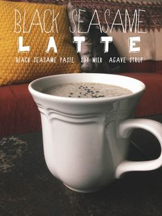 I am super excited about sharing this recipe. I first tried a black sesame latte at Paris Baguette, which probably was not even close to being vegan or healthy, but it came in a cute little cu… Sesame Recipes, Tea Recipes, Coffee Recipes, Soy Latte, Coffee Latte, Yummy Drinks, Healthy Drinks, Dessert Drinks, Agaves