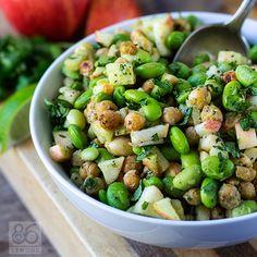 Virtual Vegan Potluck: Edamame-Chickpea Power Salad with Avocado-Lime Dressing (vegan, gf)