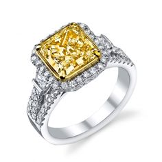 Fancy Yellow Diamond Triple Shank Ring #engagementring #yellowdiamond