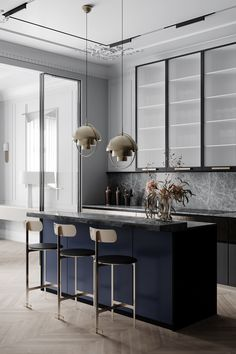 Grey neoclassical interior with colourful accents. A family home with unique kids rooms, a neoclassical style lounge, metallic kitchen, and a bijou dining room. Kitchen Interior, Neoclassical Interior, Apartment Interior, Apartment Interior Design, Neoclassical Interior Design, Home Decor, House Interior, Home Interior Design, Interior Design