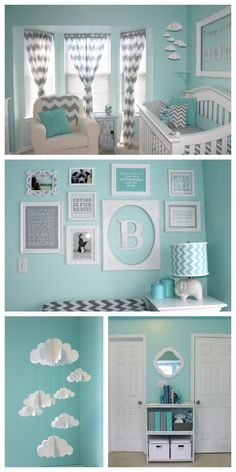 Aqua and Gray Chevron Nursery - love the cloud mobile and bright pops of white in this space!