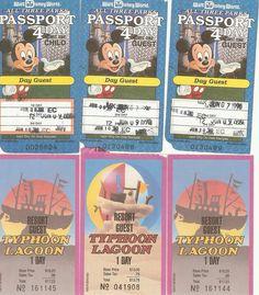 Old School Tickets from 1980's Walt Disney World