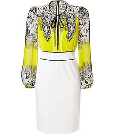 BLUMARINE  White/Lemon/Multi Silk Dress