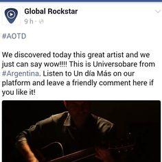 WOW! Artist of the day #globalrockstar #AOTD #believeinmusic  https://www.facebook.com/TheGlobalRockstar #formemusicisenergy #music #musicvideo #undiamas #homenaje  a #cerati  #ceratieterno  #bonustrack #primerestado #argentina #poprock #buenosaires #artist