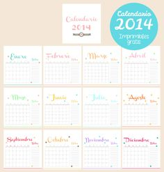 clear colours: 2014 Printable Calendar / Calendario 2014 Imprimible