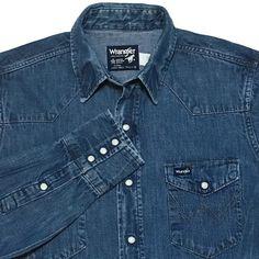 Wrangler Denim Western Pearl Snap Shirt 15.5 Cowboy Rodeo Rockabilly USA Vintage  | eBay