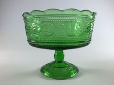 Vintage Green Depression Glass Candy Dish Retro Pedestal Bowl Compote Glass Bowl By E O Brody Cleveland Swirl And Leaf Glass Bowl by LivingAVntgLife