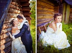 I love outdoor weddings in the fall and I love the dress against the log cabin.
