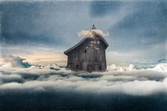 Angie Tanksley - {Wild Blue Yonder} : : elements from - Insta Stalker Ethereal, Crow, Surrealism, Clouds, Cabin, Sky, House Styles, Blue, Painting